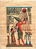 100% Authentic Egyptian Original Hand Painted Painting Papyrus Paper Pharaoh Ancient 12'x16' (30x40 cm) Akhenaton Hieroglyphic History Pharaohs Papyri Hieroglyphics