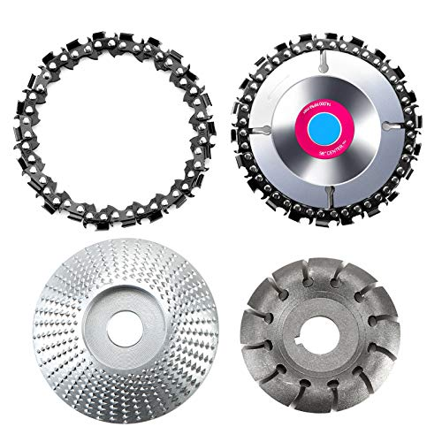 4 Pieces Angle Grinder Disc, Wood Carving Disc, 22-Teeth Steel Grinder Blade and Grinding Machine Chain for Sanding Carving Shaping Polishing Woodworking Cutter Tool Silver