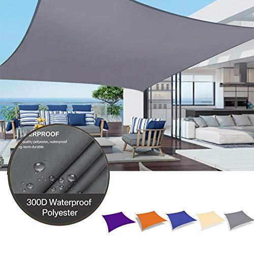 Myan Toldos para exteriores, impermeables, rectangulares, protección solar, toldo de jardín, patio, piscina, campamento, picnic (color gris claro, tamaño: 5 x 7 m)
