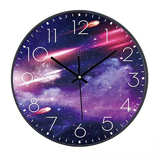 SWECOMZE Reloj de pared silencioso, 25 cm, reloj de pared infantil, esfera con galaxia estrellas...