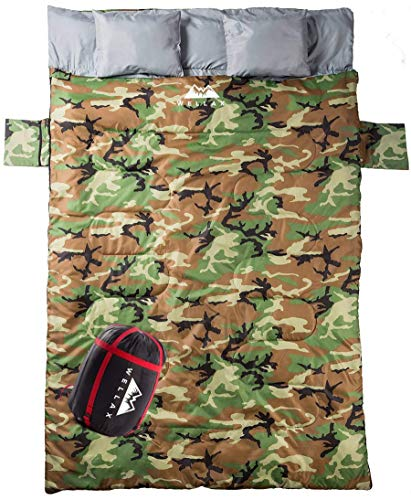 WELLAX Double Sleeping Bag for Camping, Backpacking or Hiking -Perfect Extra Large Sleeping Sack for Couples- Cozy and Warm 3 Season Waterproof Sleeping Bag for 2 Person Adults