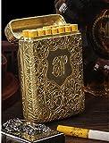 NBXLHAO Estuche para Cigarrillos de Tres aleaciones Abiertas Creativo Estuche Ultrafino Tallado en 3 Lados Clásico Europeo, para Cigarrillos de tamaño Regular Personalizado,Oro