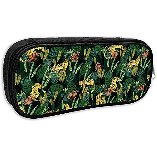 Pen Bag Pouch Leoparden Und Tropische Blätter Animal Pencil Case Stationäres Etui Make-Up Kosmetiktasche