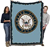 US Navy - Emblem - Cotton Woven Blanket Throw - Made in The USA (72x54)