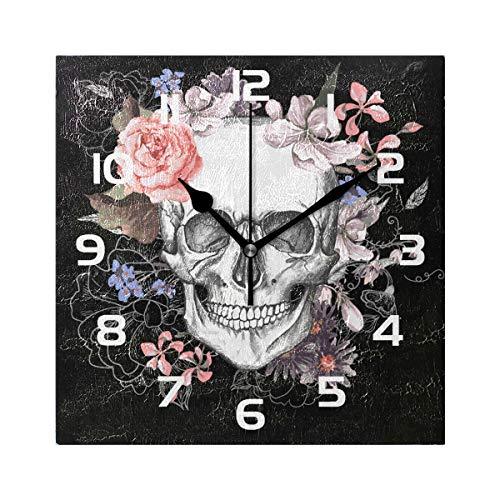 WowPrint Quadratische Wanduhr, Sugar Skull Day of The Dead Acryl, Nicht tickend, dekorative Kunst Malerei für Büro, Klassenzimmer, Schlafzimmer, Wohnzimmer, Badezimmer, Küche Dekor