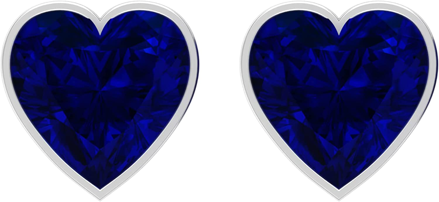 3 CT Solitaire Heart Shape Created Blue Sapphire Earrings with Bezel Set, 18K White Gold, Lab Created Blue Sapphire