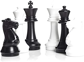 MegaChess Large Chess Set and Large Chess Mat - Black and White - Plastic - 16 inch King