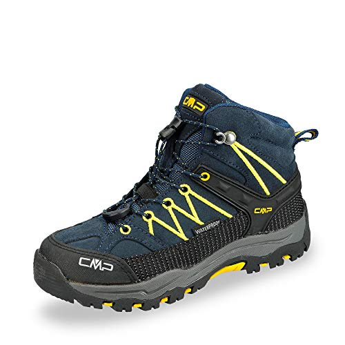 CMP Kids Rigel Mid Trekking Shoe WP, Scarpe da Arrampicata Alta Unisex-Bambini, Blu (B.Blue-Zafferano 11nd), 37 EU