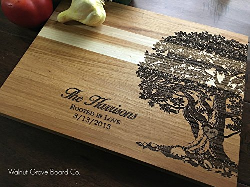 Tree Cutting Board with Carved Heart Initials and Couples Last Name with Established Date Anniversary Wedding Birthday Christmas Personalized Gift