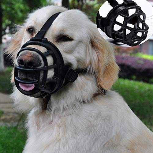 "Cilkus Dog Muzzle, Soft Rubber Basket Muzzle Cage Muzzle for Small Medium Large Dogs, Best Muzzle to Prevent Biting (Size:2(Snout 8-10""), Black)"