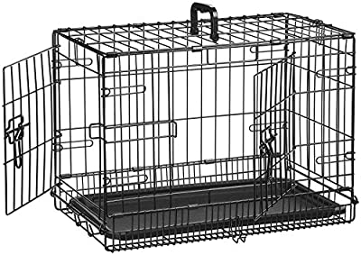 AmazonBasics Double-Door Folding Metal Dog or Pet Crate Kennel with Tray, 13 x 16 x 22 Inches
