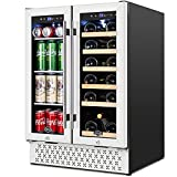 TYLZA Wine and Beverage Refrigerator, 24 Inch Built-In Dual Zone Wine and Beverage Cooler, Freestanding French Door Drink Fridge, Wine Beer Cooler Under Counter Refrigerator with Memory Temperature Control