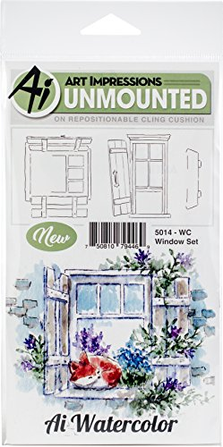 Art Impressions Watercolor Cling Rubber Stamps Window, Multicolor