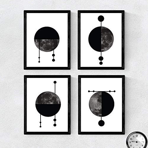 Nacnic Set de 4 láminas para enmarcar Cuatro Lunas Posters Estilo nórdico para...