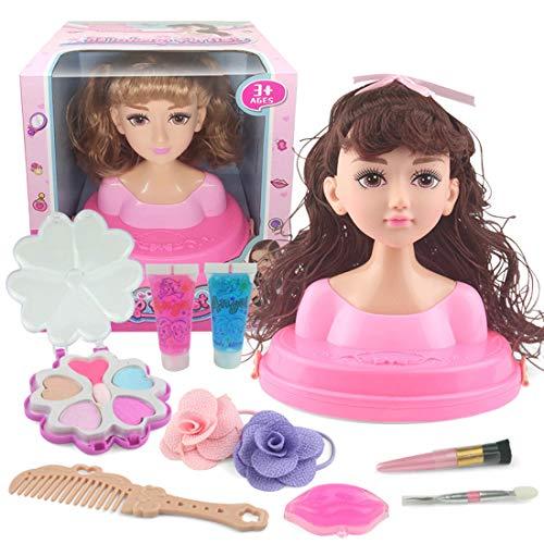 Haunen Frisierkopf Kinder, Haunen Frisierkopf Schminkkopf für Kinder, inklusive Kosmetik und Zubehör, ab 3 Jahren