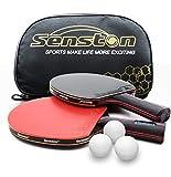 Senston Juego de Palos de Tenis de Mesa 3 Pelotas, Juego de Paleta de Ping Pong con Estuche de Raqueta, Juego de 2 Jugadores de Raquetas de Tenis de Mesa avanzado