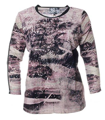No Secret Damen Langarm Shirt Violett mit glänzenden Punkten Tunika T-Shirt, Größe:44