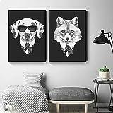 Pintura sobre lienzo Arte de la pared Carteles de dibujos animados Animales Personalizar imágenes para niños Sala de estar Dormitorio Decoración para el hogar-40x60cmx2 Sin marco
