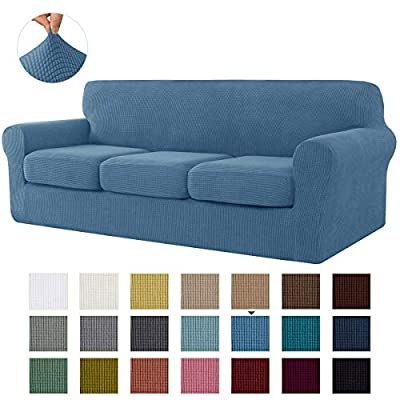 CHUN YI Stretch Sofa Slipcover Separate Cushion Couch Cover, Armchair Loveseat Replacement Coat for Ektorp Universal Sleeper, Checks Spandex Jacquard Fabric (Large,Denim Blue)