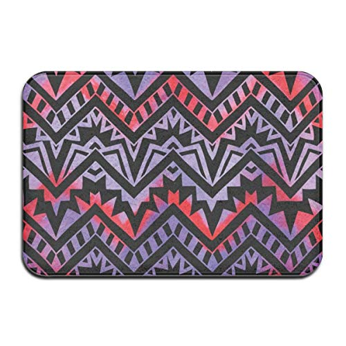 AoLismini Bath Mat, Geometric Pattern, Drawn by Hand, Tribal and Ethnic Motifs, Black Zigzag Plush Bathroom Rug wh Non Slip Backing