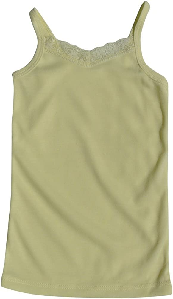 Toddler Girl Pastel V-Neck Camisole Undershirt with Lace Detail in Size 1-6
