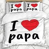 Juegos de Fundas nórdicas Happy Love Papa Greetings Día del Padre Cumpleaños Papá Blanco Abstracto Diseño de celebración Ropa de Cama de Microfibra con 2 Fundas de Almohada Cuidado fácil Antialérgico