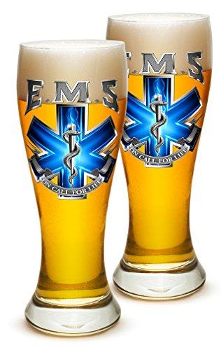 Pilsner – EMT Paramedic Gifts for Men or Women – EMT Beer Glassware – EMS On Call For Life Barware Glasses Set of 24 (23 Oz)