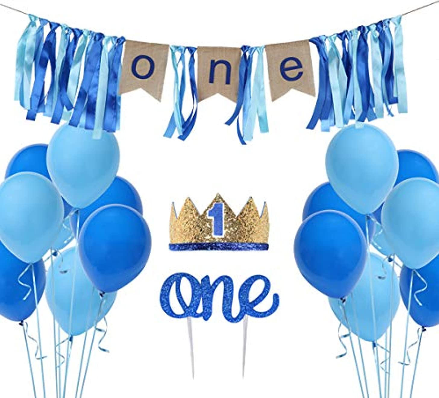1st Birthday Boy Decoration Set - One Blue Birthday High Chair Banner, Glitter Cake Topper, No. 1 Glitter Crown,16pcs Balloons with Streamers