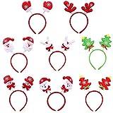 Diadema de Navidad 8 Piezas, Navidad Papá Noel, Muñeco de Nieve, Reno, Árbol de Navidad Hair Hoop Hair Band, Surtido de Sombreros para la Fiesta de Navidad Decoración de Disfraces