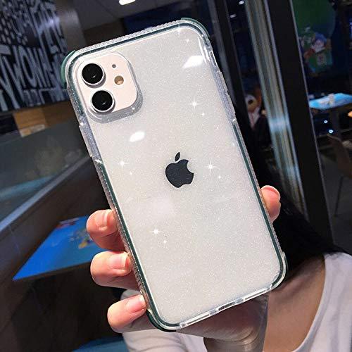 WGOUT Funda Transparente a Prueba de Golpes con Purpurina para iPhone 12 11 11Pro MAX XR XS MAX 8 7 6 6s Plus X XS 11Pro Funda Trasera de Silicona Suave, Verde Oscuro, para iPhone 12