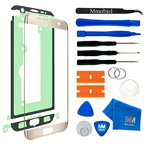 MMOBIEL Front Glas Reparatur Set kompatibel mit Samsung Galaxy S7 Edge G935 Series (Gold) Display mit Werkzeug-Set