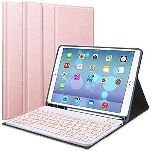 Lachesis iPad 10.2 8ª/7ª generación Funda de teclado incorporada, funda protectora delgada con 7 colores retroiluminados magnético desmontable teclado Bluetooth para iPad 2020/2019 10.2 pulgadas