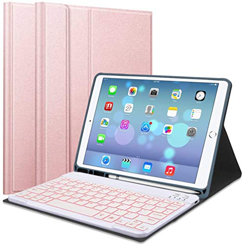 Lachesis iPad 10.2 8th/7th Gen Keyboard Case,Built-in Pen Holder Slim Protective Case with 7 Colors Backlit Magnetic Detachable Wireless Bluetooth Keyboard for iPad 2020/2019 10.2 Inch