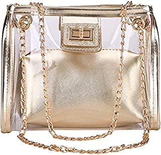 TOOGOO Transparent Ladies Bag Jelly Chain Ladies Handbag Beach Shoulder Bag Holographic Wallet And Handbag Silver