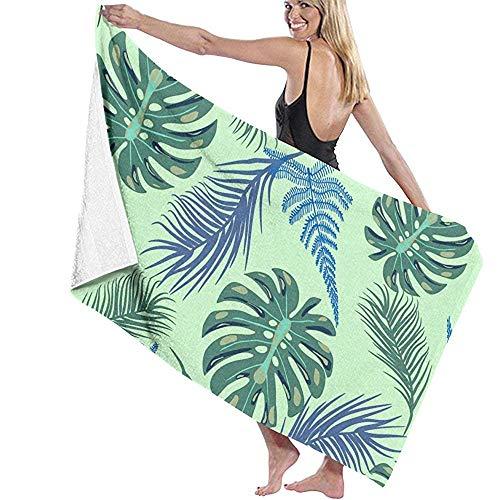 Reisdoek, mintgroen handdoek met exotische plantenbladeren voor kinderen - extra grote, dikte, gebruikersvriendelijke strand- en badhanddoeken voor volwassenen, jongens en meisjes (badhanddoek 80 x 130 cm)