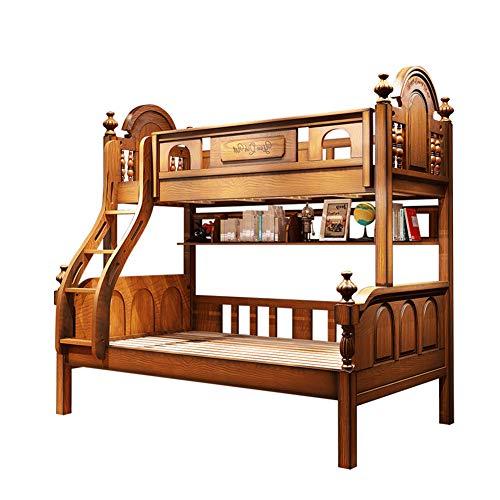 WSN Massivholz Etagenbetten, Niedrige Etagenbetten für Kinder und Kleinkinder, Holzbetten mit Schubladen, Stauraum für Kinder,1.5m