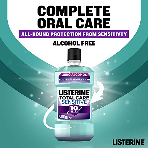 Listerine Total Care Sensitive Mouthwash, Clean Mint, 500 ml