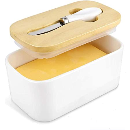 Butter Dish with Steel Knife Holds Up to 2 Sticks of Butter 22OZ White Porcelain Airtight Butter Keeper Container with Bamboo Lid