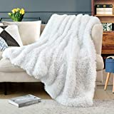 Lvylov Luxury Solid Thick Fuzzy Faux Fur Throw Blanket 50' x 60',Gift Package with Washing Bag,Decorative Soft Cozy Shaggy Fluffy Blanket,Comfy Accent Chic Plush Furry Blanket for Sofa/Couch/Bed,White