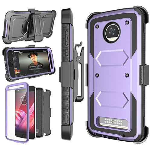 Njjex Moto Z2 Play Case, for Moto Z2 Force Case, [Nbeck] Shockproof Heavy Duty Built-in Screen Protector Rugged Holster Locking Belt Swivel Clip Kickstand Hard Shell Cover for Moto Z2 Play [Purple]