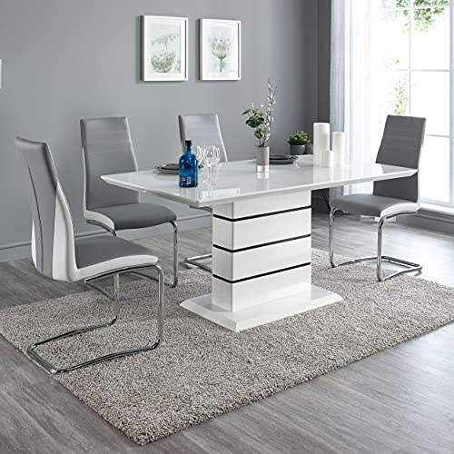 FURNITUREONE® Enna Contemporary Dining Room Set - Includes Table and Six Chairs (6 Grey & White Chairs)