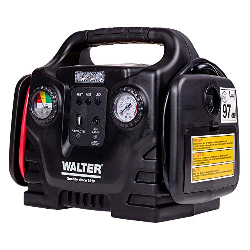 Walter Autostartgerät mit Kompressor/Autobatterie Starthilfe/inklusive 12 Volt Anschluss für Batterien/Akkus und Geräte