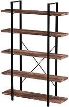 SUPERJARE 5-Shelf Industrial Bookshelf, Open Etagere Bookcase with Metal Frame, Rustic Book Shelf, Storage Display Shelves, Wood Grain - Retro Brown