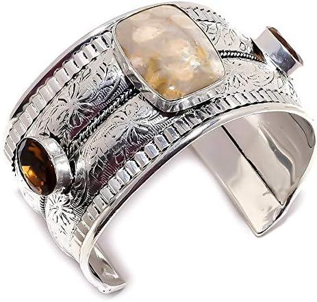 YUVI Fossil Coral, Smoky Topaz .925 Silver Jewelry Cuff Bracelet