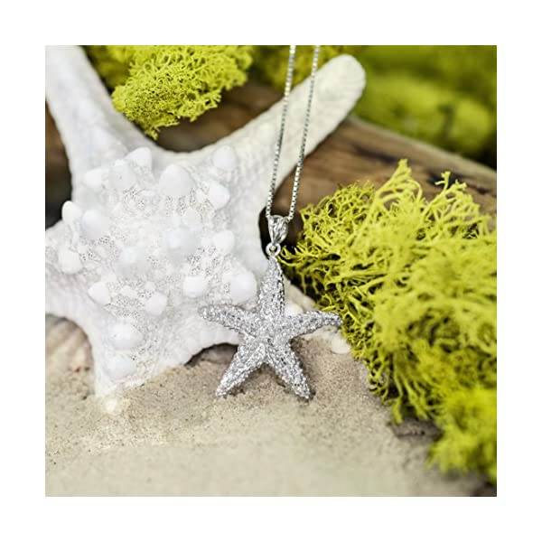 Honolulu Jewelry Company Sterling Silver Textured Starfish Necklace Pendant with 18″ Box Chain