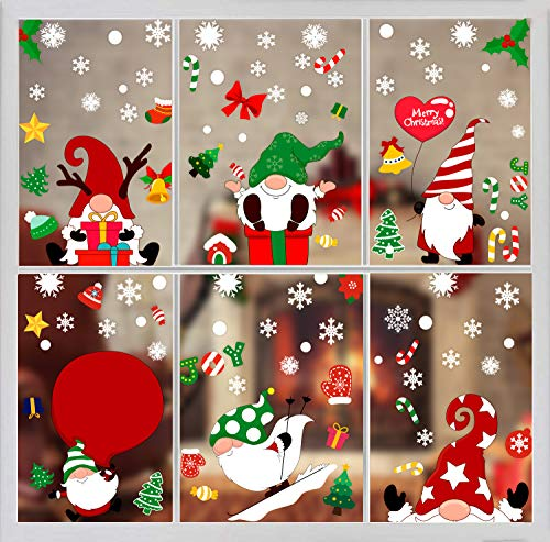 DIYASY 150pcs Christmas Window Clings Stickers,Santa Claus Window stickers Decoration for Xmas Window Display and Decoration(6 Sheet) … …