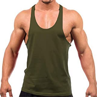 Men's Blank Stringer Y Back Bodybuilding Gym Tank Tops