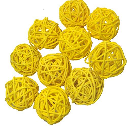 Ougual 10 Piezas Bolas de ratán Mimbre Mesa Boda Fiesta Navidad decoración 4cm Amarillo