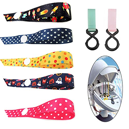 Retaining Straps for Baby Toys, Baby Bottle Adjustable Anti-Drop Holder Strap, Hanger Belt with Fixed Button for Pushchair Car Seat Buggy, Pack of 5(With 2 hooks giveaway)