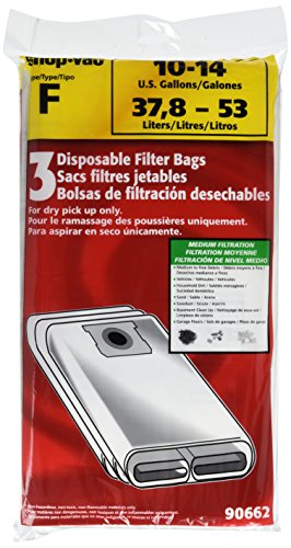 Shop-Vac 9066200 Type F 10-14 Gallon Disposable Collection Filter Bag 3-Pack Disposable Filter Bags, White